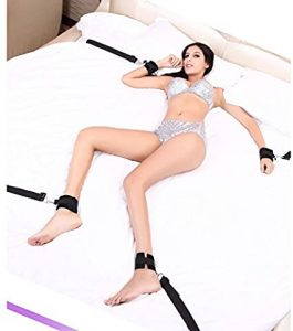 Amazing Mall-Under Bed Bondage Restraint System with Hand Cuffs Ankle Cuff